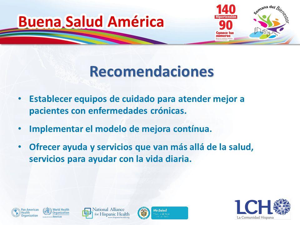 Buena Salud América Establecer equipos de cuidado para atender mejor a pacientes con enfermedades crónicas.