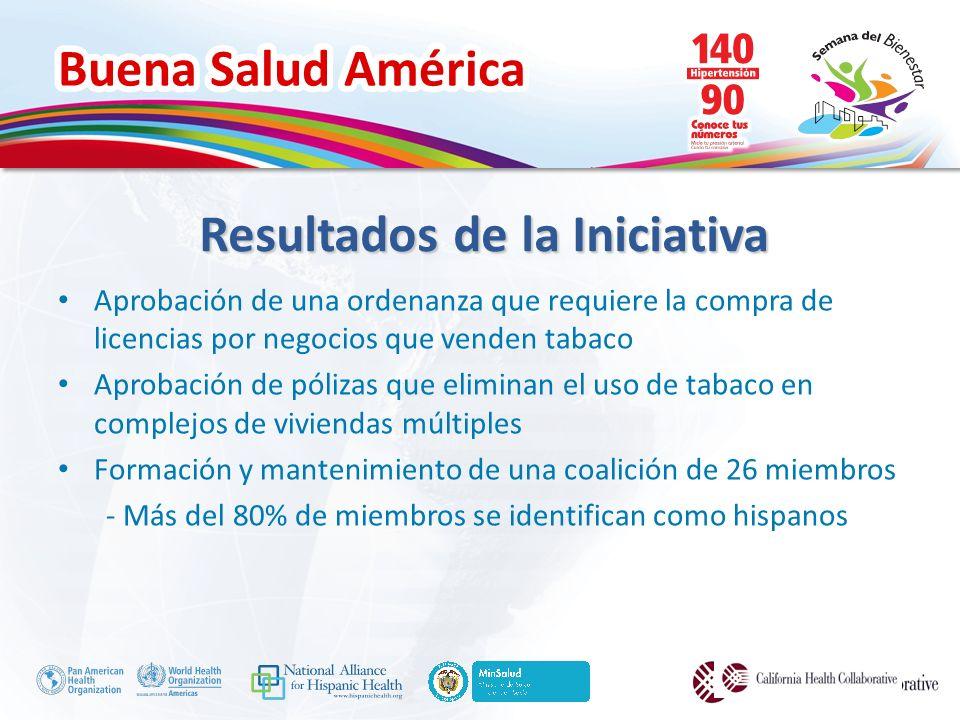 Buena Salud América Aprobación de una ordenanza que requiere la compra de licencias por negocios que venden tabaco Aprobación de pólizas que eliminan el uso de tabaco en complejos de viviendas múltiples Formación y mantenimiento de una coalición de 26 miembros - Más del 80% de miembros se identifican como hispanos Resultados de la Iniciativa