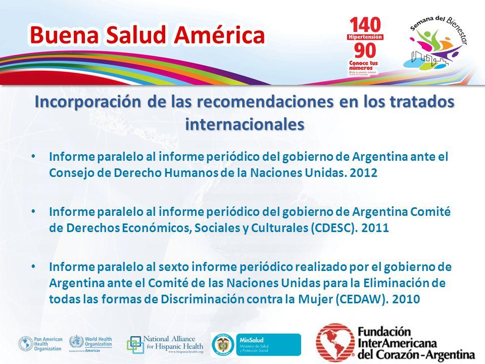 Buena Salud América Inserte su logo Informe paralelo al informe periódico del gobierno de Argentina ante el Consejo de Derecho Humanos de la Naciones
