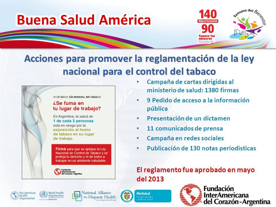 Buena Salud América Inserte su logo Campaña de cartas dirigidas al ministerio de salud: 1380 firmas 9 Pedido de acceso a la información pública Presen