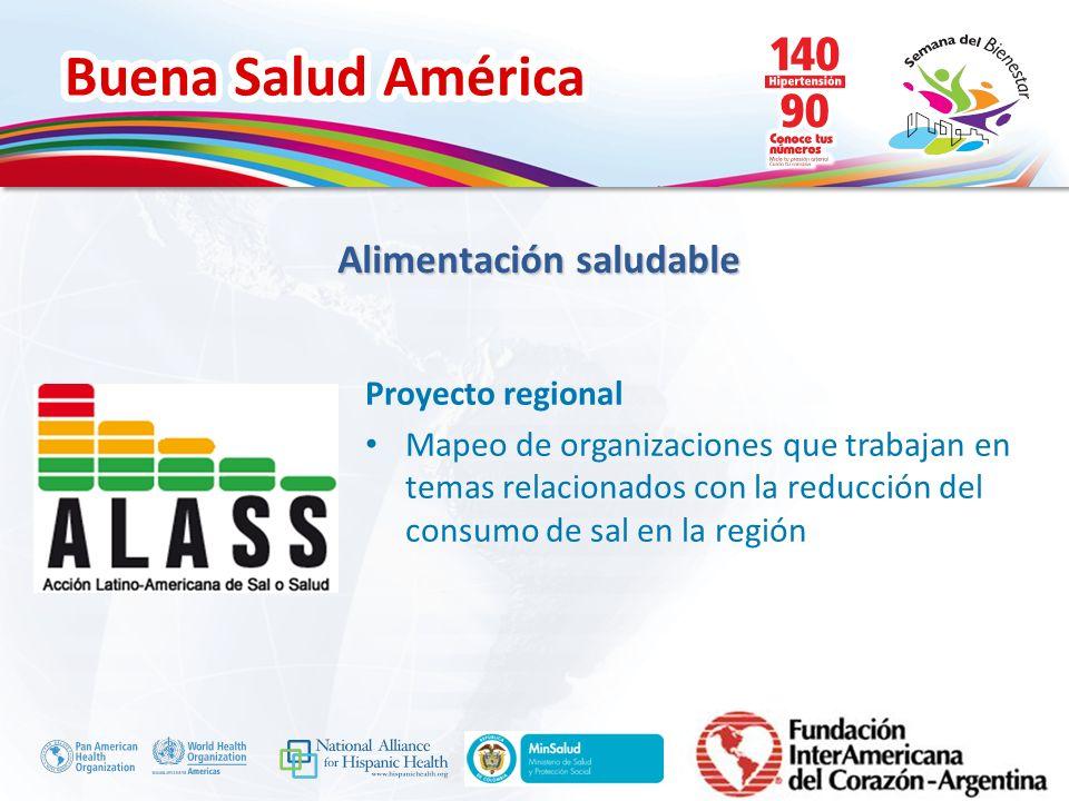 Buena Salud América Inserte su logo Impulsamos el compromiso de más de 25 organizaciones de la sociedad civil argentina para trabajar en conjunto con el objetivo de promover políticas efectivas de reducción del consumo de sodio y monitorear las acciones del Estado nacional en esta materia Construcción de redes y capacitación