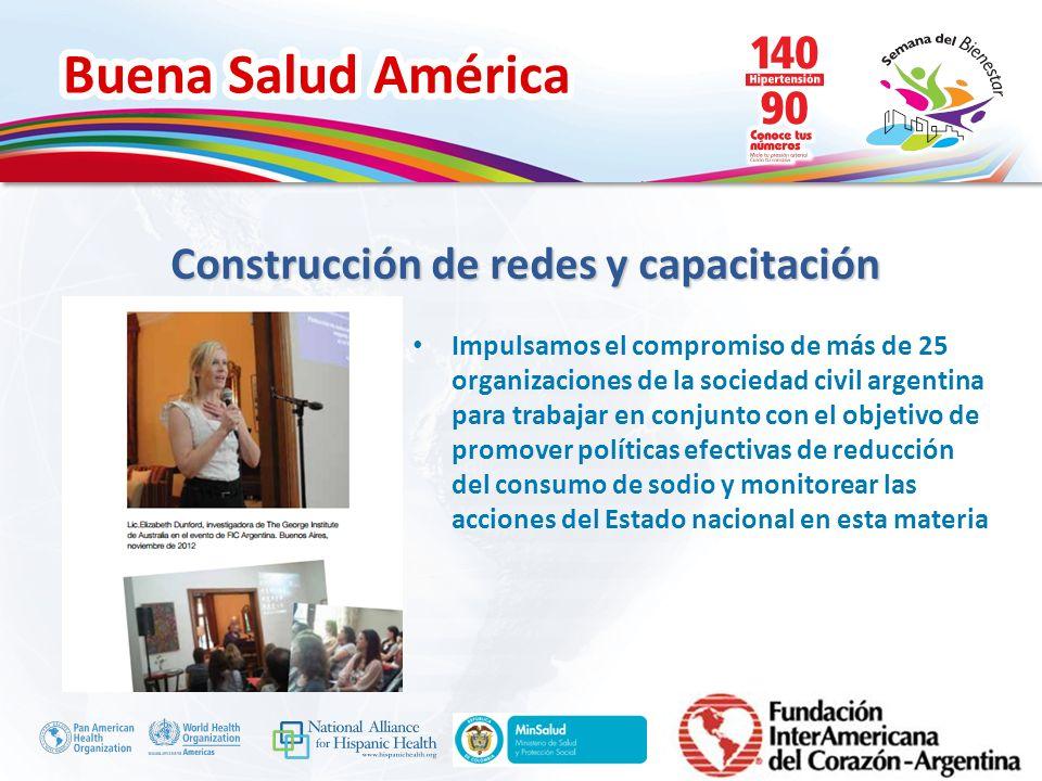 Buena Salud América Inserte su logo Impulsamos el compromiso de más de 25 organizaciones de la sociedad civil argentina para trabajar en conjunto con
