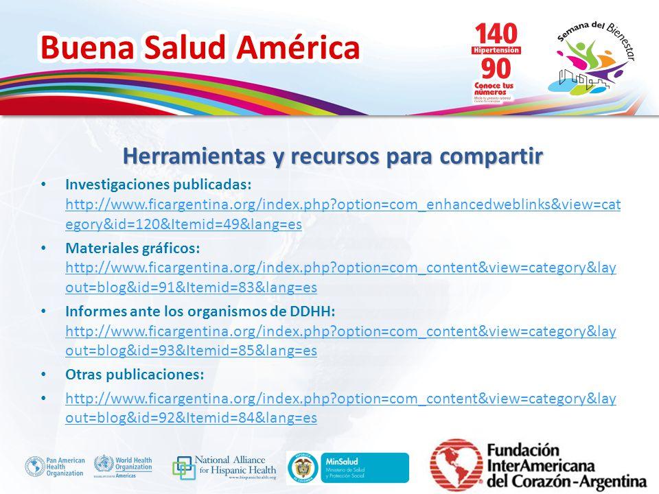 Buena Salud América Inserte su logo Herramientas y recursos para compartir Investigaciones publicadas: http://www.ficargentina.org/index.php?option=co