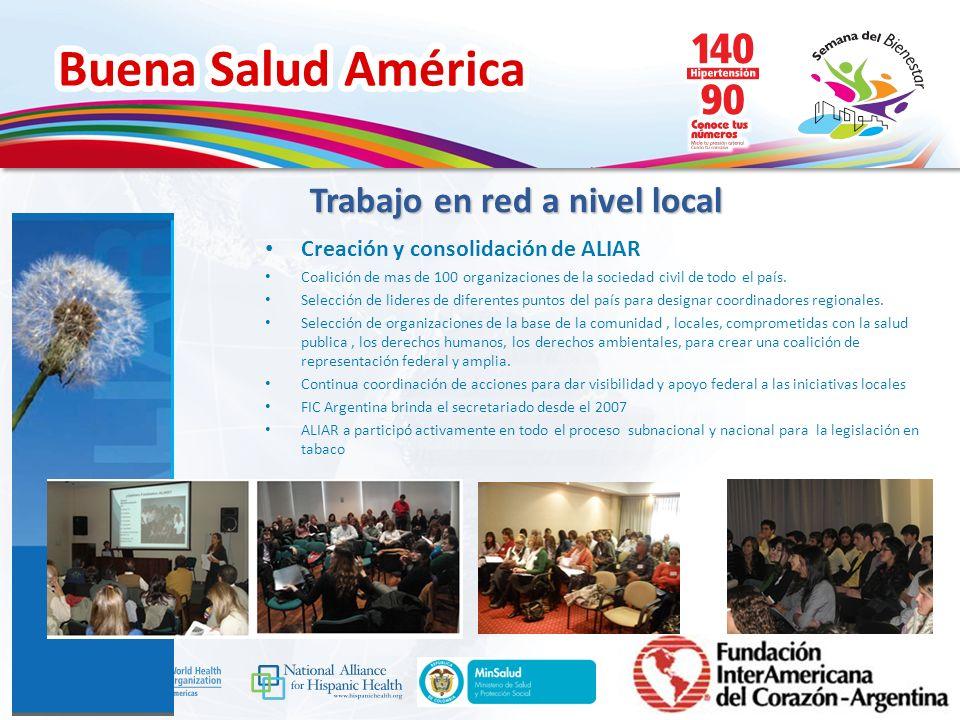 Buena Salud América Inserte su logo Creación y consolidación de ALIAR Coalición de mas de 100 organizaciones de la sociedad civil de todo el país. Sel