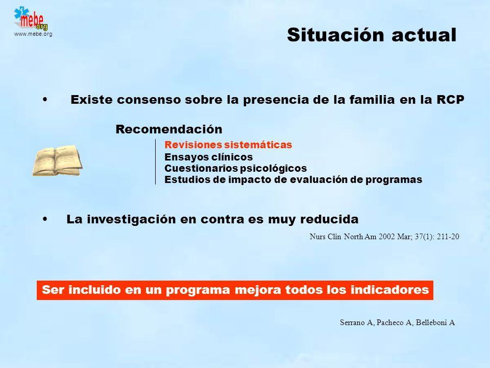 www.mebe.org Situación actual Existe consenso sobre la presencia de la familia en la RCP Recomendación Revisiones sistemáticas Ensayos clínicos Cuesti