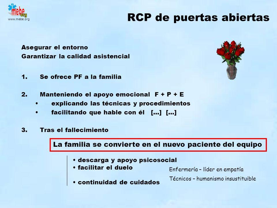 www.mebe.org RCP de puertas abiertas Asegurar el entorno Garantizar la calidad asistencial La familia se convierte en el nuevo paciente del equipo 1.S