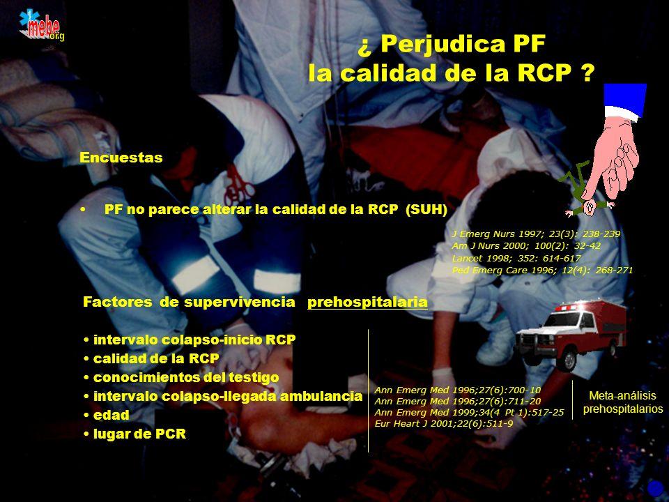 www.mebe.org ¿ Perjudica PF la calidad de la RCP ? Encuestas PF no parece alterar la calidad de la RCP (SUH) J Emerg Nurs 1997; 23(3): 238-239 Am J Nu