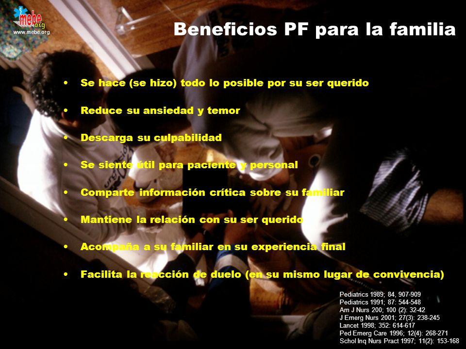 Beneficios PF para la familia Se hace (se hizo) todo lo posible por su ser querido Reduce su ansiedad y temor Descarga su culpabilidad Se siente útil