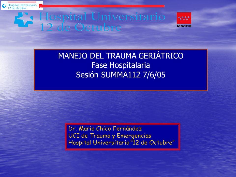 Dr. Mario Chico Fernández UCI de Trauma y Emergencias Hospital Universitario 12 de Octubre MANEJO DEL TRAUMA GERIÁTRICO Fase Hospitalaria Sesión SUMMA