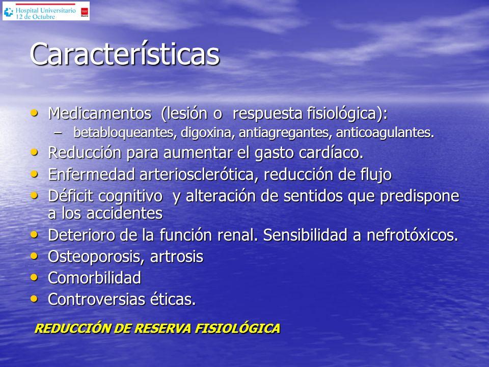 Características Medicamentos (lesión o respuesta fisiológica): Medicamentos (lesión o respuesta fisiológica): – betabloqueantes, digoxina, antiagregan