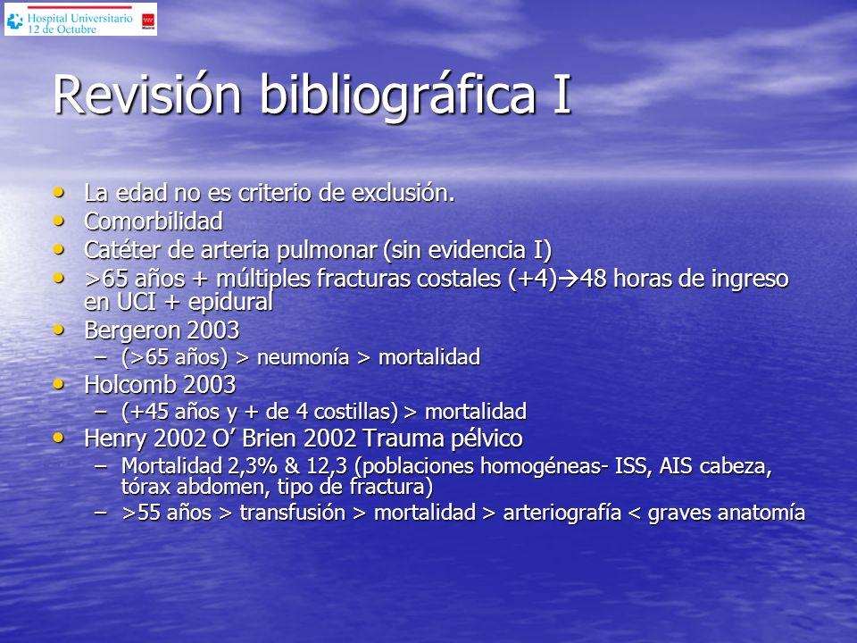 Revisión bibliográfica I La edad no es criterio de exclusión. La edad no es criterio de exclusión. Comorbilidad Comorbilidad Catéter de arteria pulmon