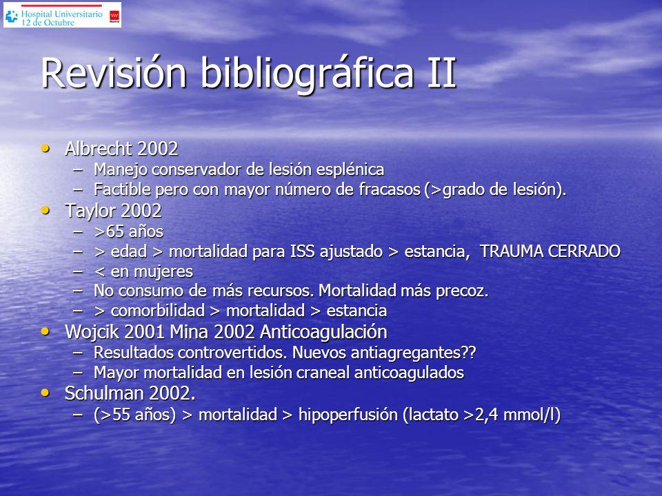Revisión bibliográfica II Albrecht 2002 Albrecht 2002 –Manejo conservador de lesión esplénica –Factible pero con mayor número de fracasos (>grado de l
