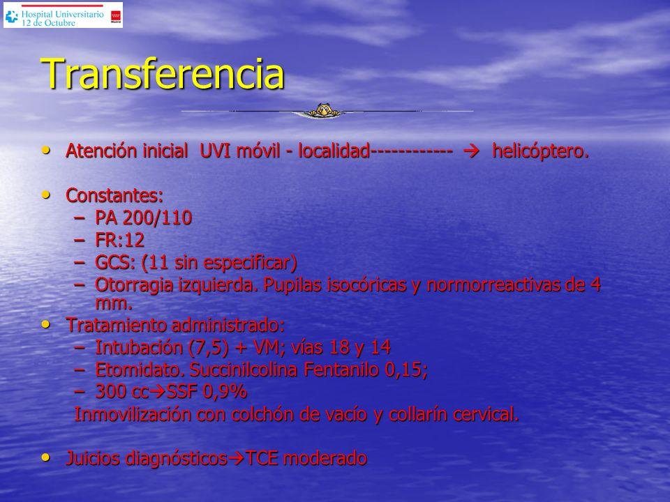 Reconocimiento Primario A Permeable A Permeable B Ventilación conservada bilateral / IOT B Ventilación conservada bilateral / IOT C 160/70 C 160/70 D GCS:6 (M4) D GCS:6 (M4) E E