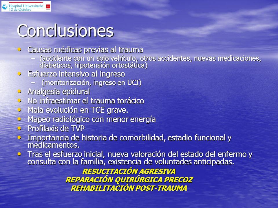 Conclusiones Causas médicas previas al trauma Causas médicas previas al trauma –(accidente con un solo vehículo, otros accidentes, nuevas medicaciones