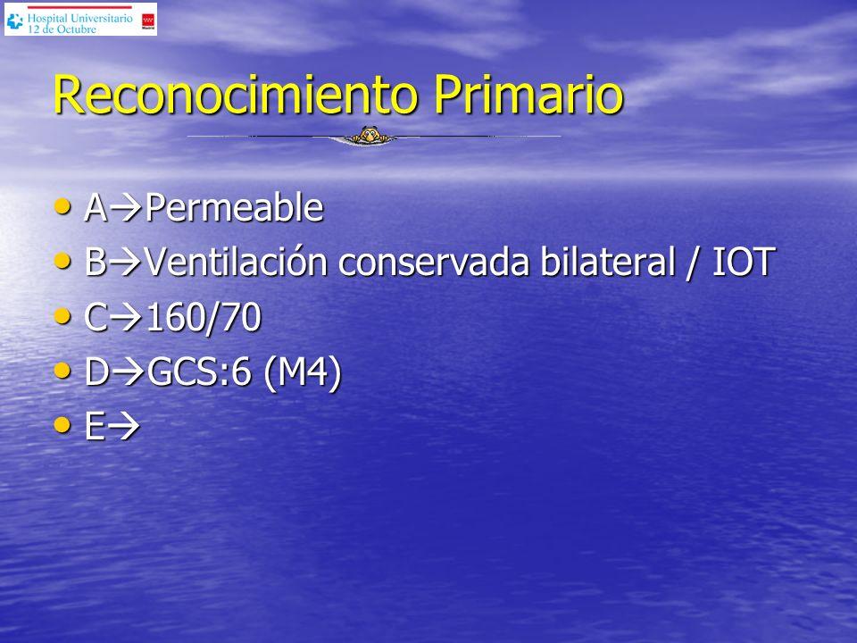 Reconocimiento Primario A Permeable A Permeable B Ventilación conservada bilateral / IOT B Ventilación conservada bilateral / IOT C 160/70 C 160/70 D