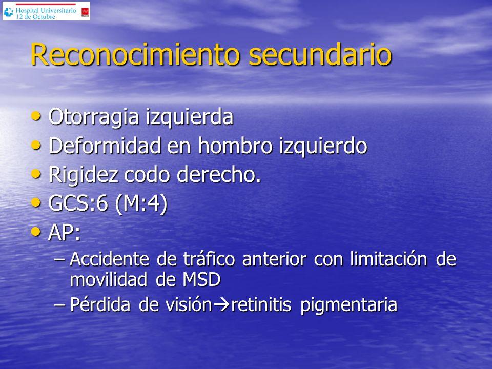 Coagulación: TP: 112% Cefalina: 30 Fibrinogeno: 296g/dl Hemograma: Hb: 14,3g/dl Htco: 41,8% Leucocitos: 14700 / l (LPN 80,5%) Plaquetas: 150000 l GA (FiO 2 100%): 7,48/326/ / 29,4 / 21,5 /0 /100 Analítica