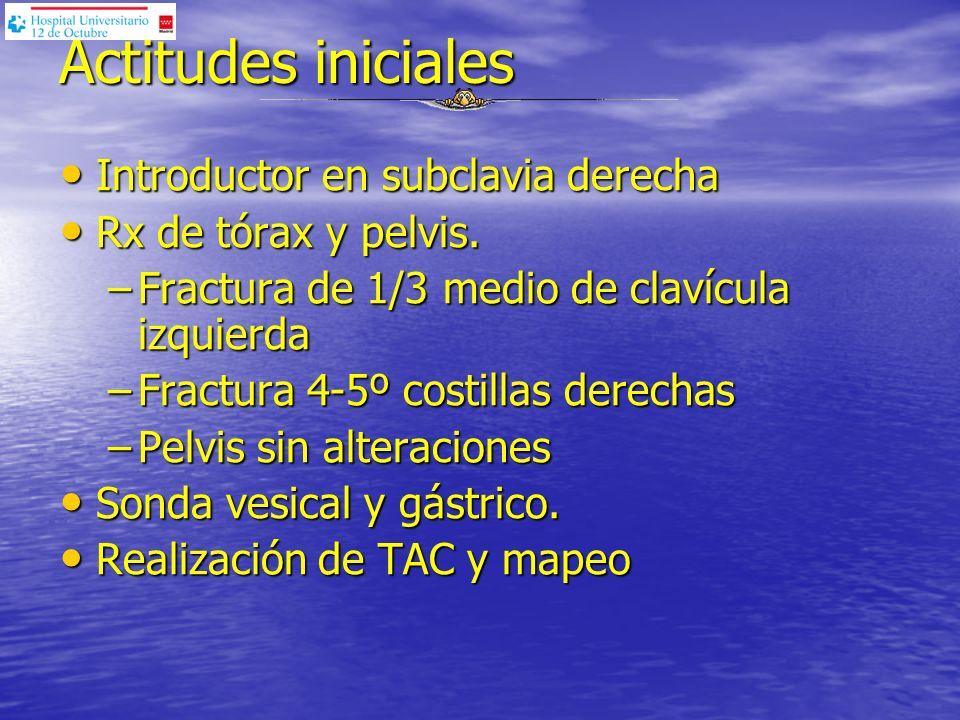 Actitudes iniciales Introductor en subclavia derecha Introductor en subclavia derecha Rx de tórax y pelvis. Rx de tórax y pelvis. –Fractura de 1/3 med
