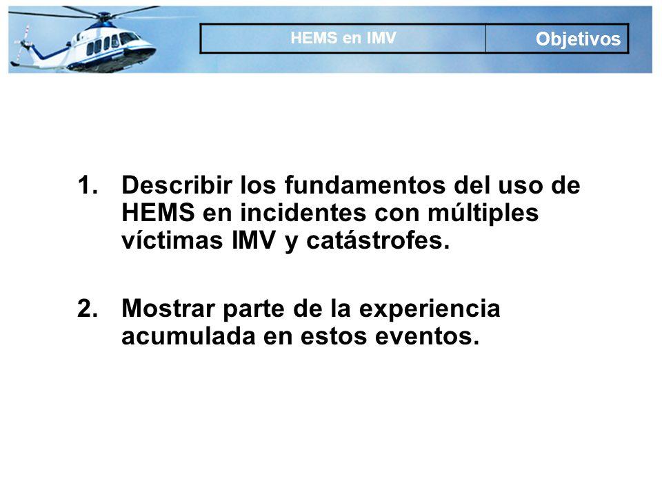 Principal limitación Madrid Muy escaso número de helisuperficies hospitalarias Puede llegar a comprometer la supervivencia de un solo paciente Escasa filosofía del paciente helitransportado Limita su uso en IMVs