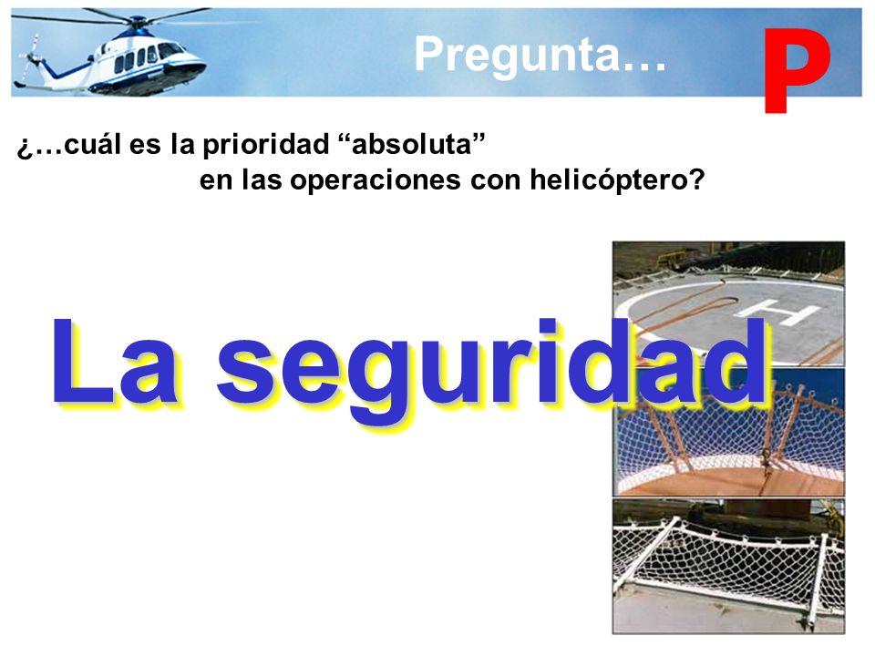 Pregunta… ¿…cuál es la prioridad absoluta en las operaciones con helicóptero? La seguridad P