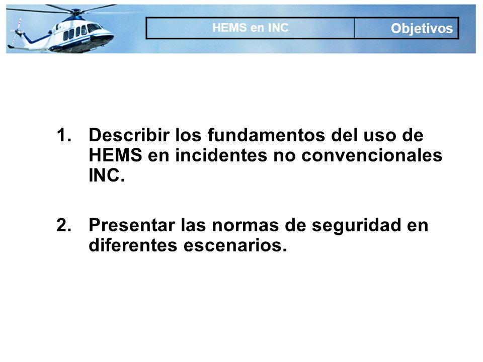 1.Describir los fundamentos del uso de HEMS en incidentes no convencionales INC.