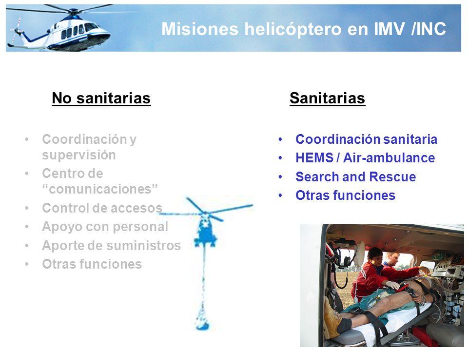 Misiones helicóptero en IMV /INC No sanitariasSanitarias Coordinación y supervisión Centro de comunicaciones Control de accesos Apoyo con personal Aporte de suministros Otras funciones Coordinación sanitaria HEMS / Air-ambulance Search and Rescue Otras funciones
