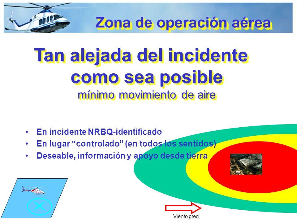 Zona de operación aérea Tan alejada del incidente como sea posible mínimo movimiento de aire En incidente NRBQ-identificado En lugar controlado (en todos los sentidos) Deseable, información y apoyo desde tierra Viento pred.