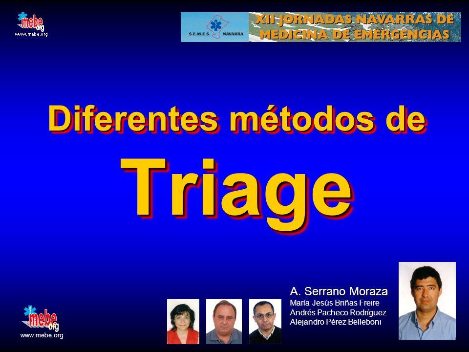 SM Diferentes métodos de Triage A. Serrano Moraza A. Serrano Moraza María Jesús Briñas Freire Andrés Pacheco Rodríguez Alejandro Pérez Belleboni www.m