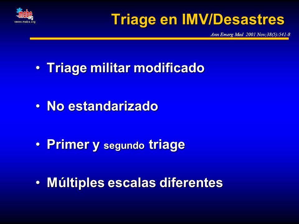 Triage en IMV/Desastres Triage militar modificadoTriage militar modificado No estandarizadoNo estandarizado Primer y segundo triagePrimer y segundo tr