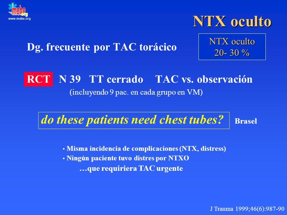 www.mebe.org NTX oculto Dg. frecuente por TAC torácico RCT N 39 TT cerrado TAC vs. observación (incluyendo 9 pac. en cada grupo en VM) do these patien