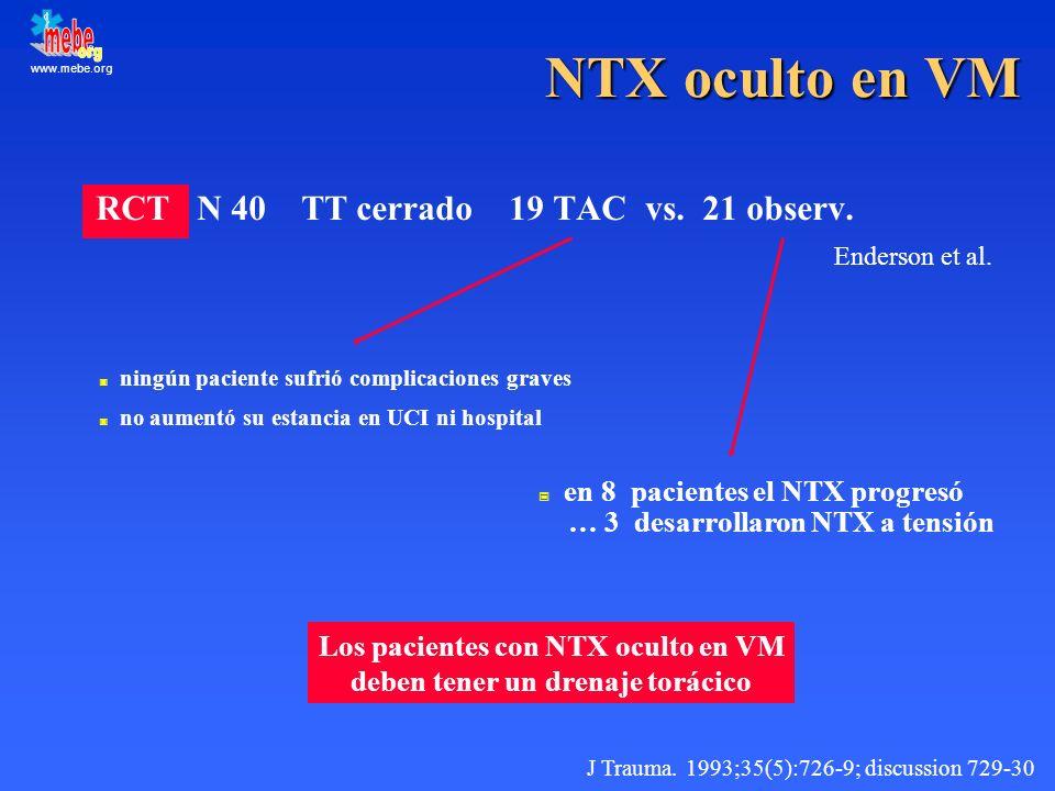 www.mebe.org NTX oculto en VM RCT N 40 TT cerrado 19 TAC vs. 21 observ. Enderson et al. J Trauma. 1993;35(5):726-9; discussion 729-30 ningún paciente