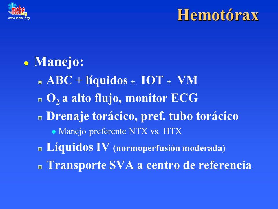 www.mebe.orgHemotórax l Manejo: ABC + líquidos IOT VM O 2 a alto flujo, monitor ECG Drenaje torácico, pref. tubo torácico l Manejo preferente NTX vs.