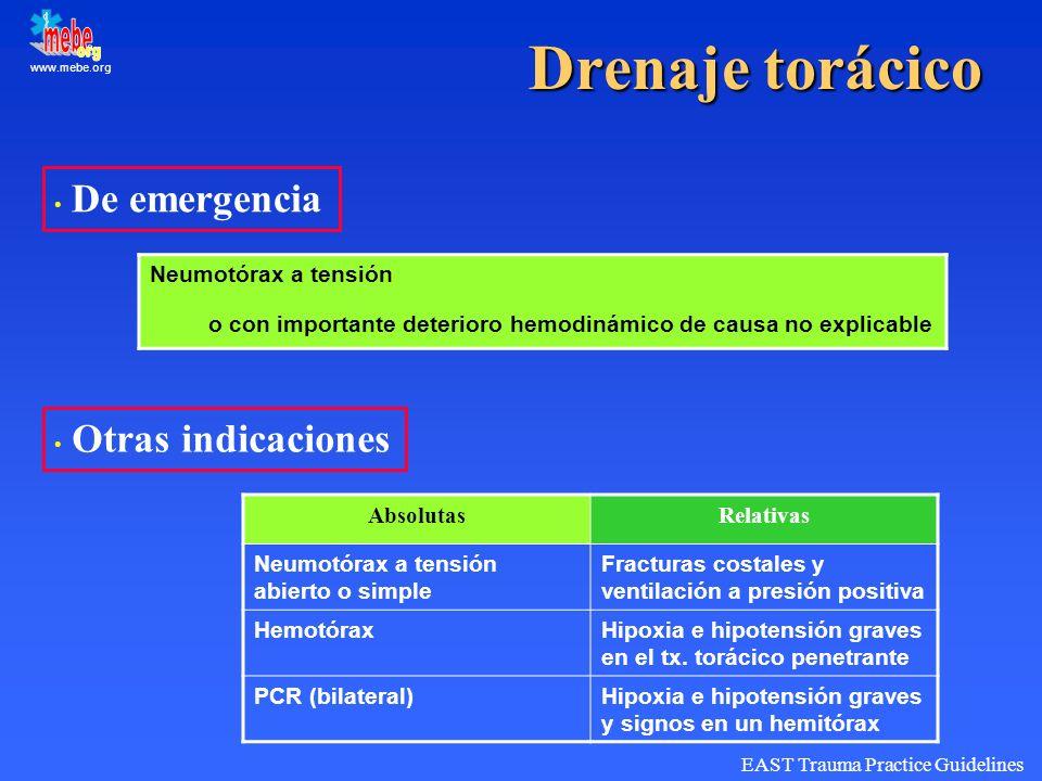www.mebe.org Drenaje torácico De emergencia Otras indicaciones AbsolutasRelativas Neumotórax a tensión abierto o simple Fracturas costales y ventilaci
