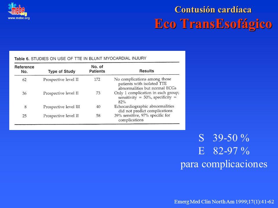 www.mebe.org Contusión cardíaca Eco TransEsofágico S 39-50 % E 82-97 % para complicaciones Emerg Med Clin North Am 1999;17(1):41-62