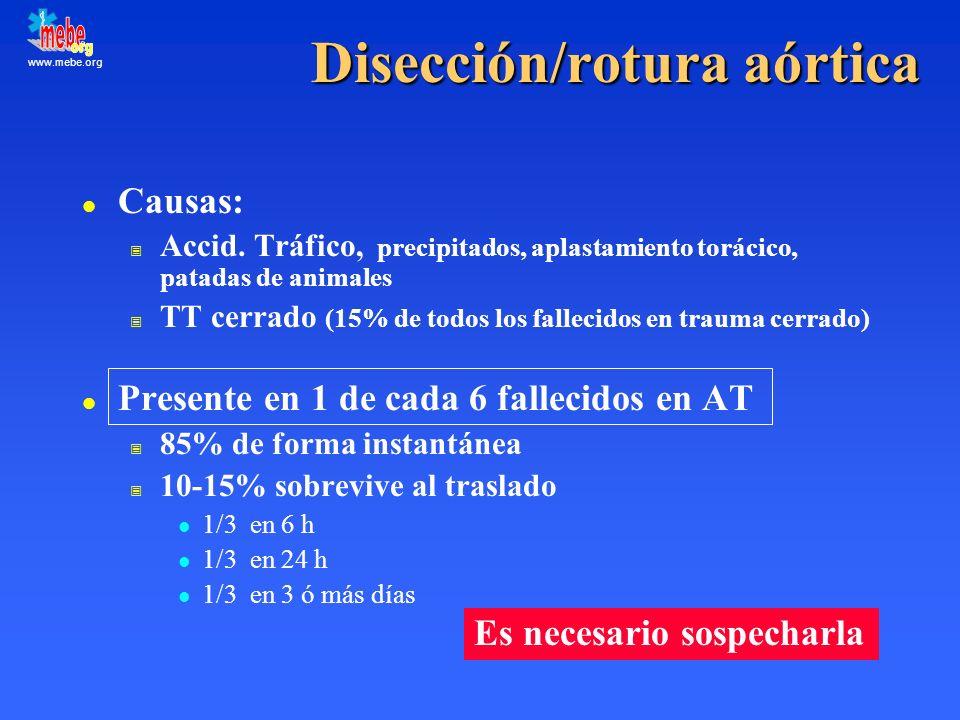 www.mebe.org Disección/rotura aórtica l Causas: Accid. Tráfico, precipitados, aplastamiento torácico, patadas de animales TT cerrado (15% de todos los