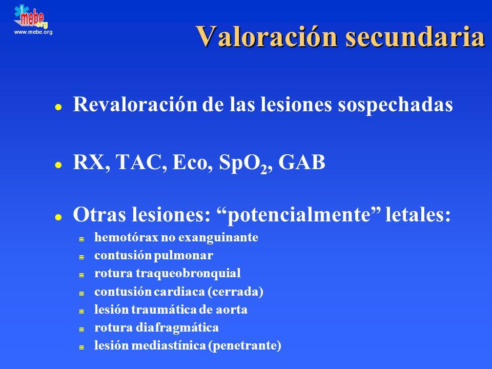 www.mebe.org Valoración secundaria l Revaloración de las lesiones sospechadas l RX, TAC, Eco, SpO 2, GAB l Otras lesiones: potencialmente letales: hem