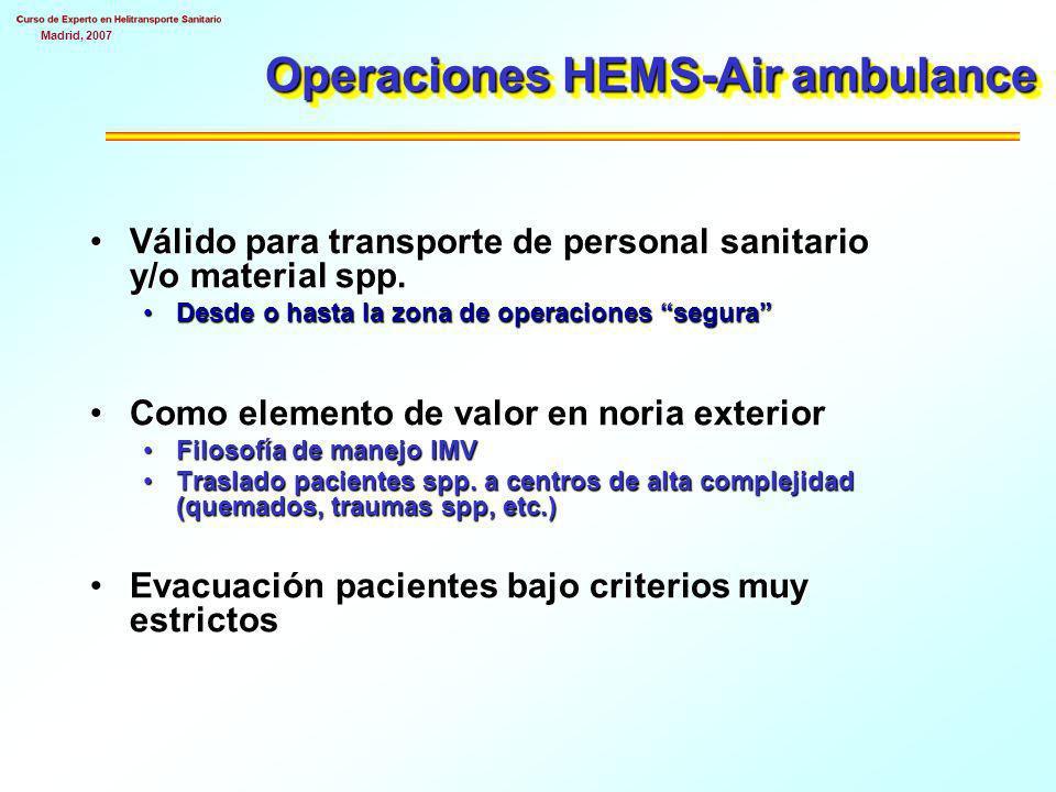 Madrid, 2007 Coordinación sanitaria No siempre jefe de mando único es sanitario No es la prioridad sanitaria Valor limitado No siempre útil Necesario