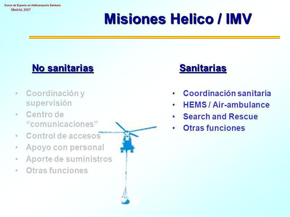 Madrid, 2007 Misiones Helico / IMV No sanitarias Sanitarias Coordinación y supervisión Centro de comunicaciones Control de accesos Apoyo con personal Aporte de suministros Otras funciones Coordinación sanitaria HEMS / Air-ambulance Search and Rescue Otras funciones