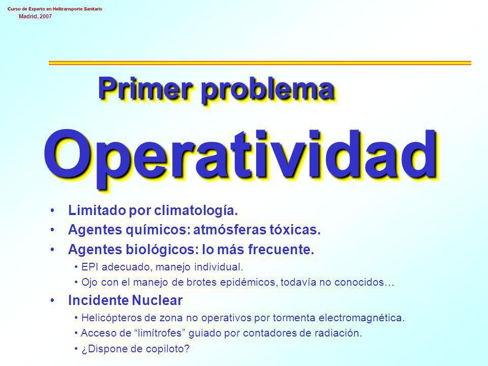 Madrid, 2007 Primer problema Operatividad Limitado por climatología.