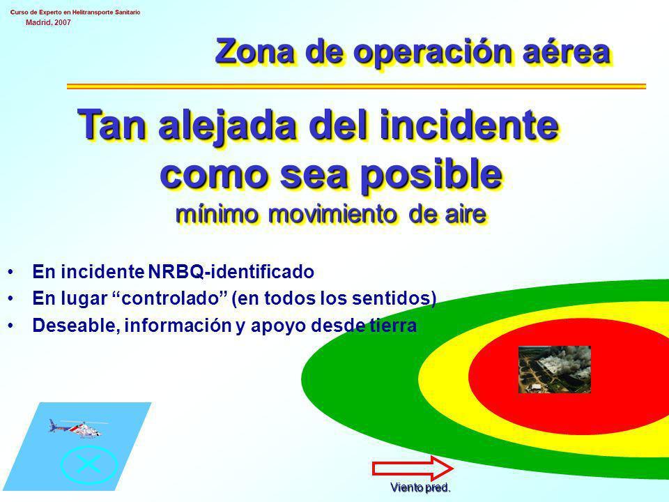 Madrid, 2007 Zona de operación aérea Tan alejada del incidente como sea posible mínimo movimiento de aire En incidente NRBQ-identificado En lugar controlado (en todos los sentidos) Deseable, información y apoyo desde tierra Viento pred.
