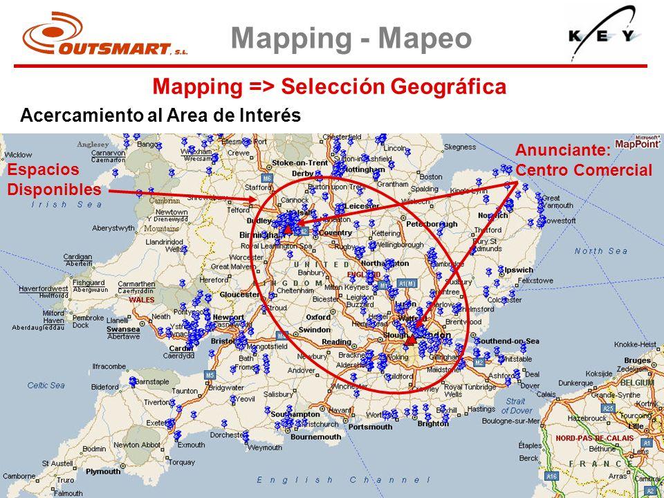 Mapping => Selección Geográfica Mapping - Mapeo Acercamiento al Area de Interés Espacios Disponibles Anunciante: Centro Comercial