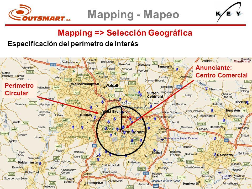 Mapping => Selección Geográfica Mapping - Mapeo Especificación del perímetro de interés Perímetro Circular Anunciante: Centro Comercial