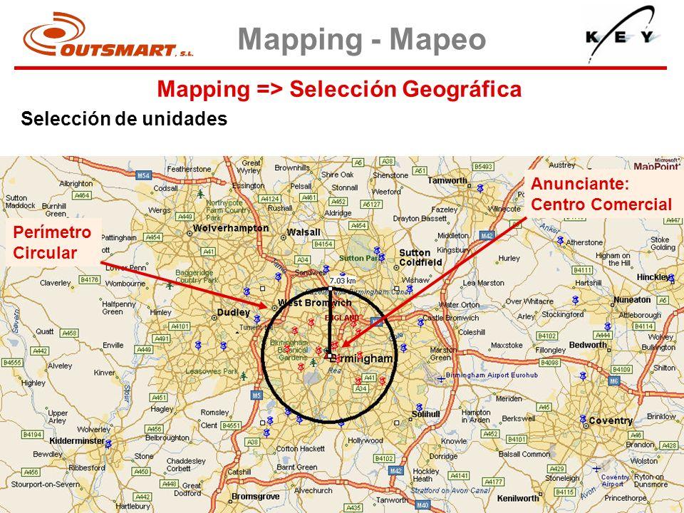 Mapping => Selección Geográfica Mapping - Mapeo Selección de unidades Perímetro Circular Anunciante: Centro Comercial