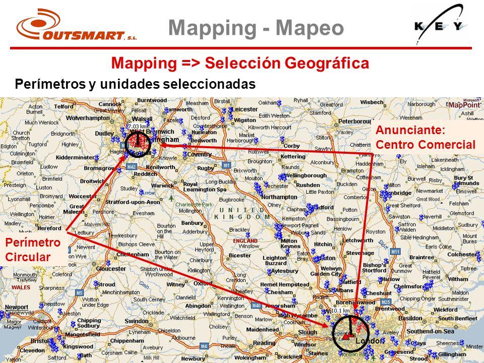 Mapping => Selección Geográfica Mapping - Mapeo Perímetros y unidades seleccionadas Perímetro Circular Anunciante: Centro Comercial