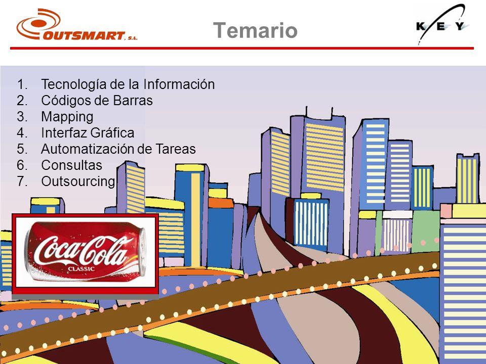 1.Tecnología de la Información 2.Códigos de Barras 3.Mapping 4.Interfaz Gráfica 5.Automatización de Tareas 6.Consultas 7.Outsourcing Temario