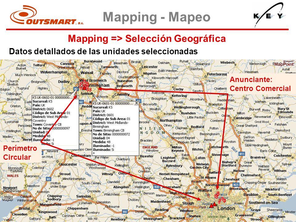 Mapping => Selección Geográfica Mapping - Mapeo Datos detallados de las unidades seleccionadas Perímetro Circular Anunciante: Centro Comercial