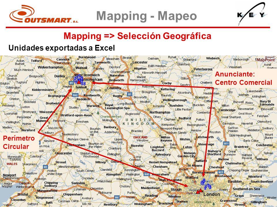 Mapping => Selección Geográfica Mapping - Mapeo Unidades exportadas a Excel Perímetro Circular Anunciante: Centro Comercial
