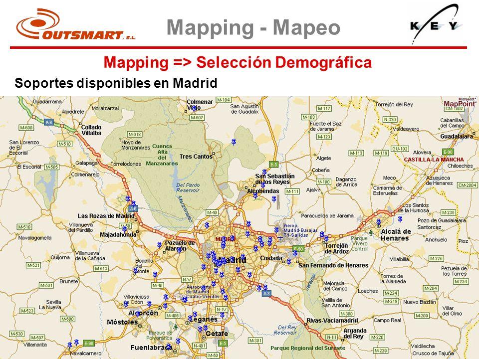 Mapping => Selección Demográfica Mapping - Mapeo Soportes disponibles en Madrid