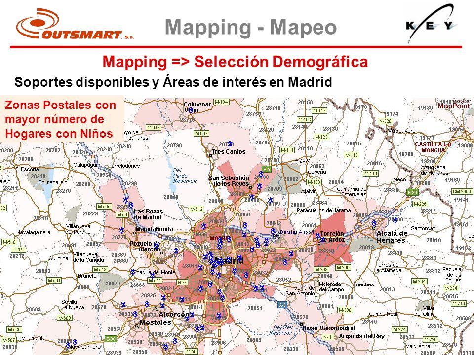 Mapping => Selección Demográfica Mapping - Mapeo Soportes disponibles y Áreas de interés en Madrid Zonas Postales con mayor número de Hogares con Niño