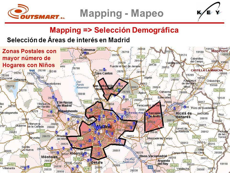 Mapping => Selección Demográfica Mapping - Mapeo Selección de Áreas de interés en Madrid Zonas Postales con mayor número de Hogares con Niños
