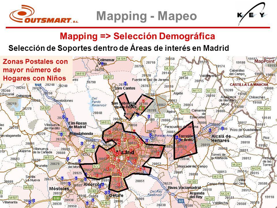 Mapping => Selección Demográfica Mapping - Mapeo Selección de Soportes dentro de Áreas de interés en Madrid Zonas Postales con mayor número de Hogares